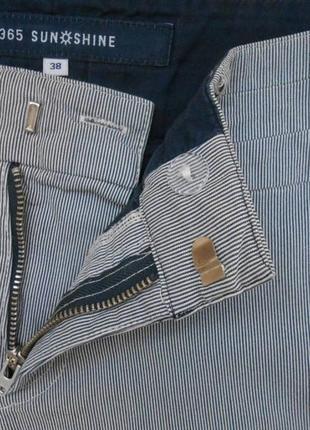 Шорты дания бермуды джинсовые в полоску высокая талия посадка хлопок р. м4