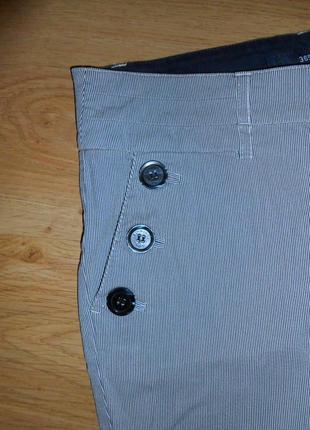 Шорты дания бермуды джинсовые в полоску высокая талия посадка хлопок р. м5
