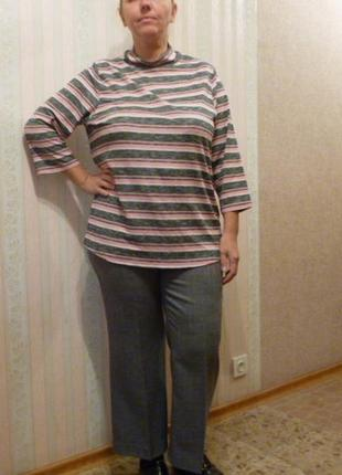 Свитер блуза лонгслив бадлон водолазка свободного кроя  полоска большой размер1