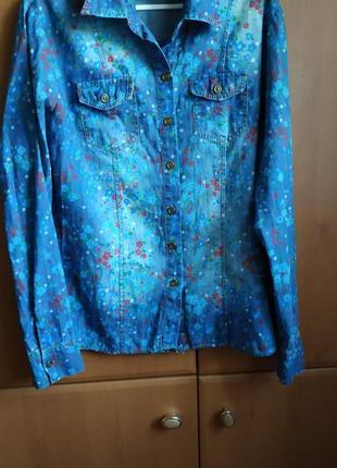 Цветочная джинсовая котоновая рубашка, трансформер, 38