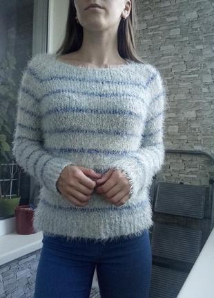Теплая кофта свитер в полоску с травкой
