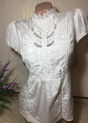 Восхитительная шелковая блуза с шикарным кружевом натуральный шелк +хлопок3