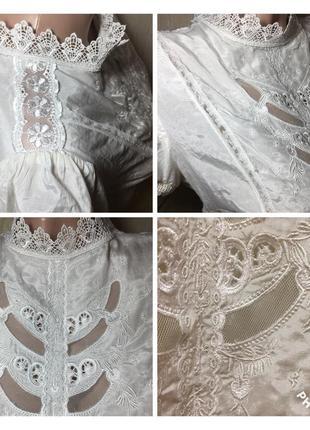 Восхитительная шелковая блуза с шикарным кружевом натуральный шелк +хлопок5