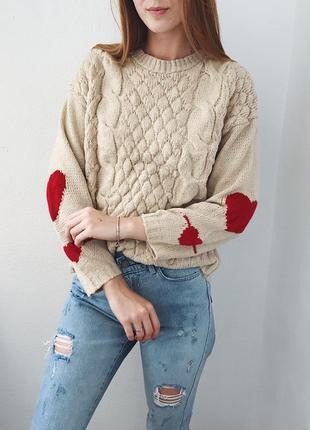 Нежный кремовый свитерок с сердечками boohoo2