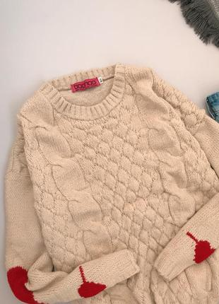 Нежный кремовый свитерок с сердечками boohoo5