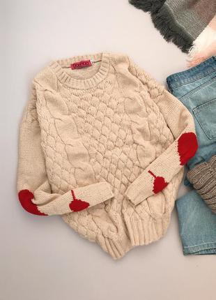 Нежный кремовый свитерок с сердечками boohoo1