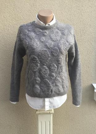 Вязанная,тёплая,фактурная кофта,свитер,джемпер,шерсть,мохер,акрил,италия