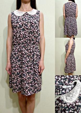 Легкое платье с кружевным воротничком 12-14
