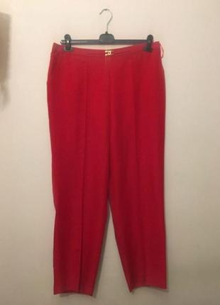 Красные зауженые брюки - сигареты, для девуше plus size