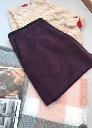 Баклажановая шерстяная юбка трапеция m&s5