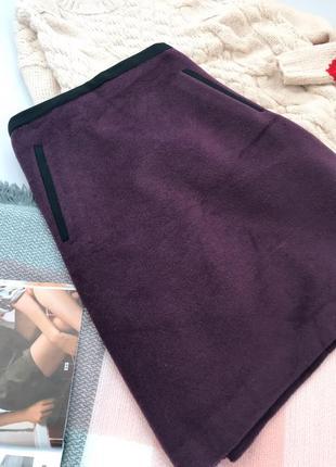 Баклажановая шерстяная юбка трапеция m&s3
