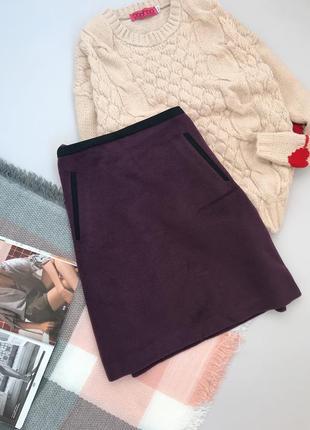 Баклажановая шерстяная юбка трапеция m&s1