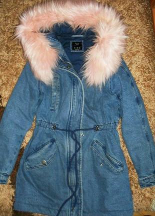 Куртка, парка джинсовая с мехом