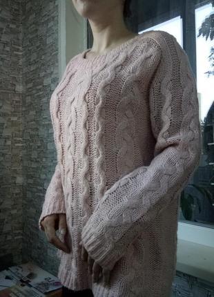 Теплый свитер кофта в косичку2