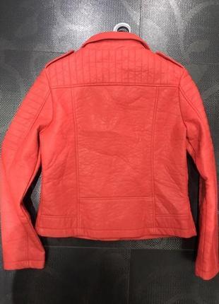 Куртка косуха кожаная кожанка яркая красная коралловая морковная кожа pu эко2