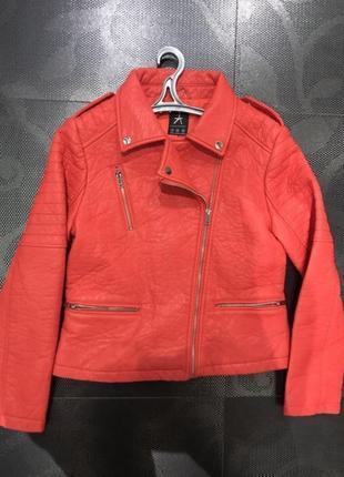 Куртка косуха кожаная кожанка яркая красная коралловая морковная кожа pu эко3