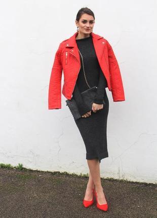 Куртка косуха кожаная кожанка яркая красная коралловая морковная кожа pu эко5