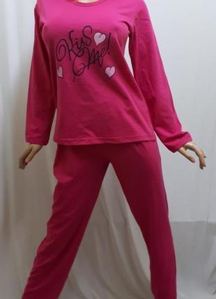 Пижама женская хлопковая с длинным рукавом размеры 52-58