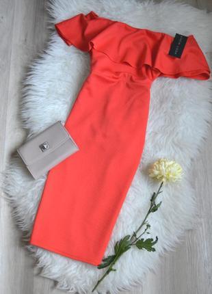 Новое миди платье с открытыми плечами и воланом new look3