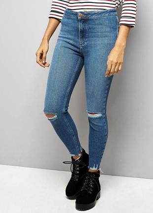 Стильные джинсы скинни с высокой посадкой рваными коленками краями1