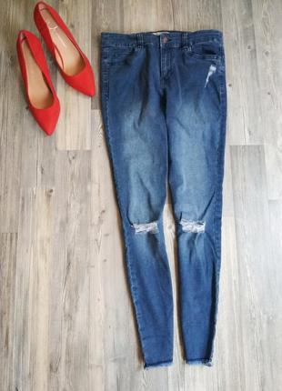 Стильные джинсы скинни с высокой посадкой рваными коленками краями3