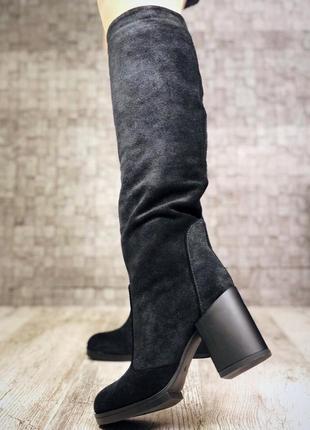 Зимние замшевые сапоги на широком устойчивом каблуке. 36-403