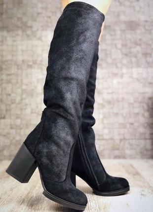 Зимние замшевые сапоги на широком устойчивом каблуке. 36-404