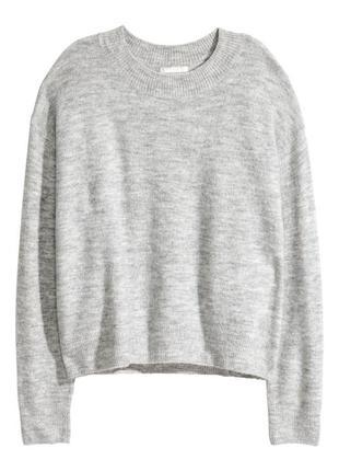 Джемпер свитер акрил шерсть вязка серый h&m