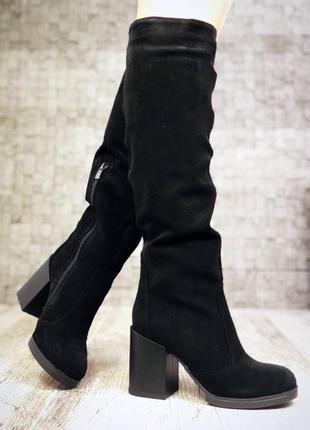 Зимние замшевые сапоги на широком устойчивом каблуке. 36-401