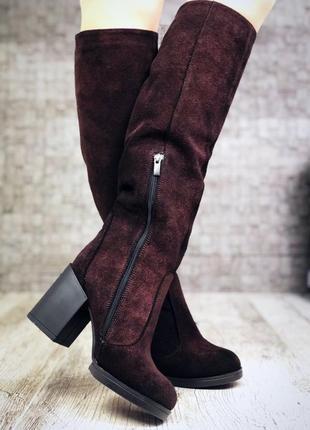 Зимние замшевые сапоги на широком устойчивом каблуке. 36-405