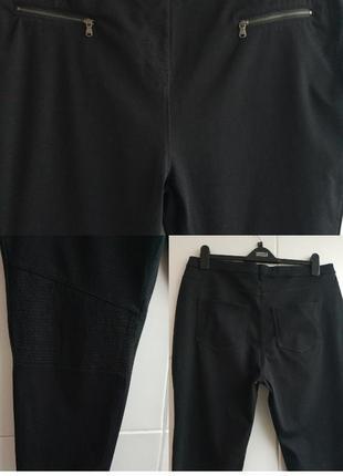 Стильные и ультракомфортные брюки-скинни next  базового черного цвета с молниями5