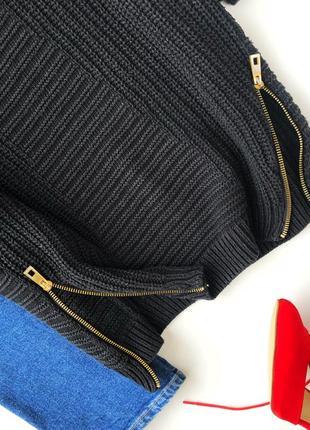 Свитер-платье плотной вязки с золотыми замками river island3