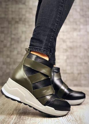 Кожаные демисезонные ботинки с ремешками. 36-405