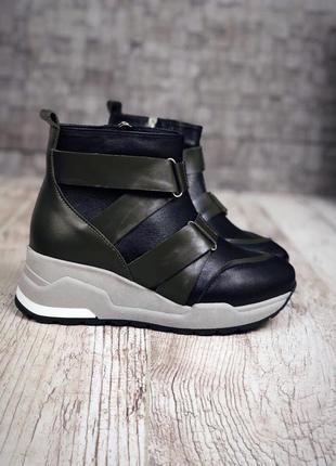 Кожаные демисезонные ботинки с ремешками. 36-402