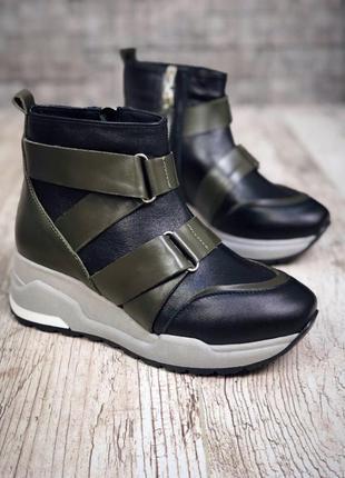 Кожаные демисезонные ботинки с ремешками. 36-401