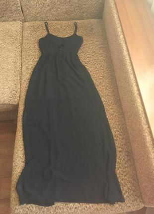 Чёрное шифоновое платье со шнуровкой1