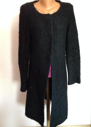Тёплый  длинный  буклированный полушерстянный кардиган с карманами. /m/ brend expresso1