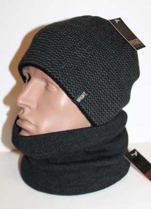 Комплект шапка и баф на флисе теплый