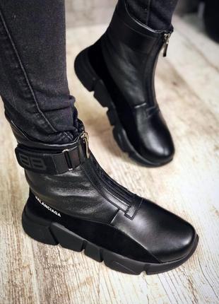 Кожаные замшевые ботинки на модной подошве в стиле balenciaga на липучке. 36-413