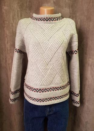 Серый вязанный свитер tu s,новый теплый уютный свитерок xs-s1