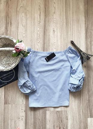 Стильна блуза в клітиночку з рюхами від boohoo💫1