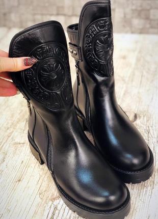 Кожаные зимние ботинки с тиснением и двумя молниями. 36-402