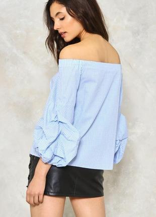 Стильна блуза в клітиночку з рюхами від boohoo💫5