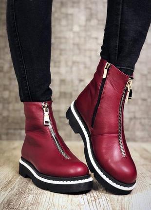 Кожаные зимние ботинки с надписями. 36-404