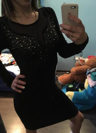 Коктельное праздничное платье /сеточка /камни /миди платье2