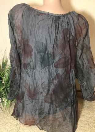 Фабрика италия 🇮🇹 шелковая блуза натуральный шелк рукав трансформер3