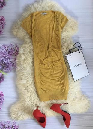 Горчичное вязаное платье кофта