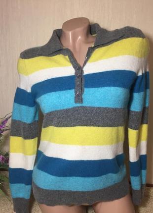 Германия 🇩🇪 полосатый кашемировый джемпер м-ка/  мериносовый свитер  louisa di carpi2