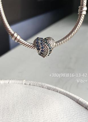 Подвеска «сердце воды». серебряный шарм сердце в камнях на браслет pandora бусина пандора