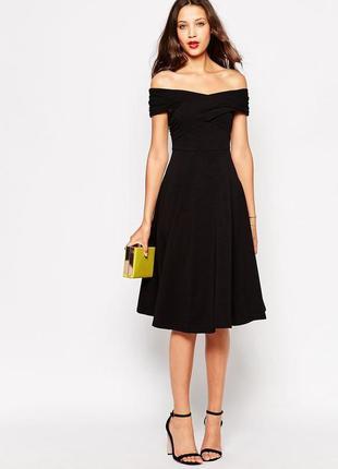 Платье миди с широким вырезом asos tall